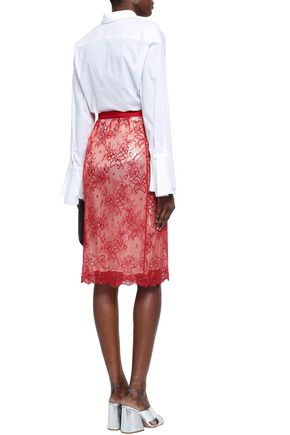 MAISON MARGIELA Layered lace and PVC pencil skirt