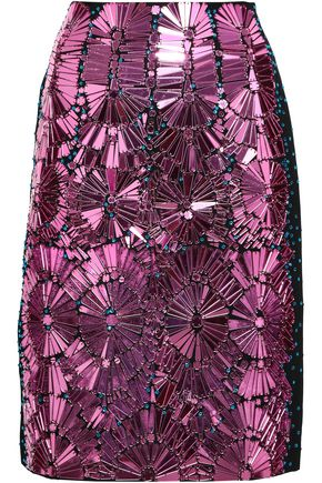 MAISON MARGIELA Embellished cotton and silk-blend pencil skirt