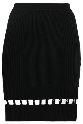 ALEXANDERWANG.T Cutout ribbed-knit mini skirt