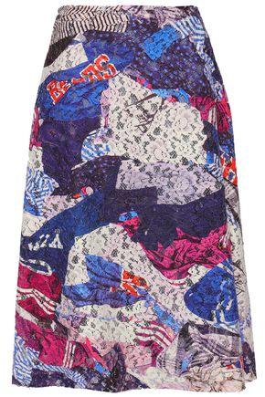 MAISON MARGIELA Flared printed cotton-blend lace skirt