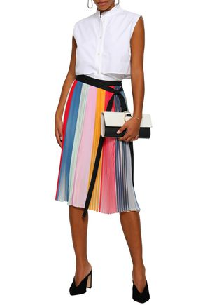 TOME Pleated color-block chiffon wrap skirt