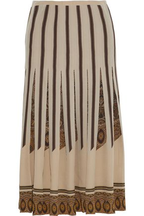 ETRO Pleated printed silk crepe de chine midi skirt
