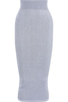 RICK OWENS Ribbed-knit midi pencil skirt