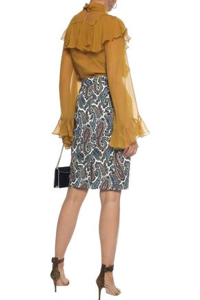 DIANE VON FURSTENBERG Zip-detailed printed stretch-cotton skirt
