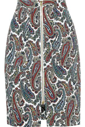 DIANE VON FURSTENBERG Zip-detailed printed stretch-cotton twill skirt