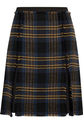 ETRO Checked wool and linen-blend tweed mini skirt