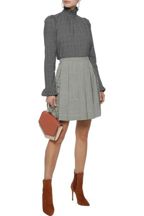 ETRO Pleated checked wool-blend mini skirt