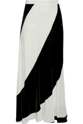 TOME Fluted two-tone velvet midi skirt