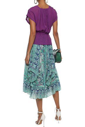 ETRO Gathered printed silk-georgette midi skirt