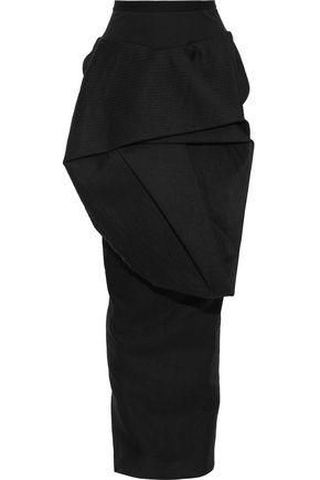 RICK OWENS Ribbed knit-paneled gathered woven maxi skirt