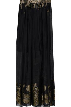 ETRO Metallic-trimmed burnout silk-blend chiffon maxi skirt