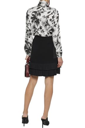 ETRO Paneled ponte and pleated crepe de chine mini skirt