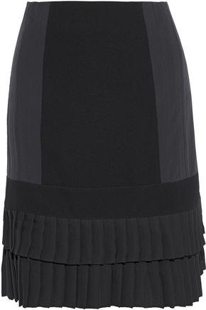 ETRO Paneled ponte and pleated crepe de chine mini skirt
