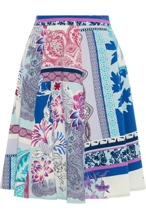 ETRO Flared printed wool skirt