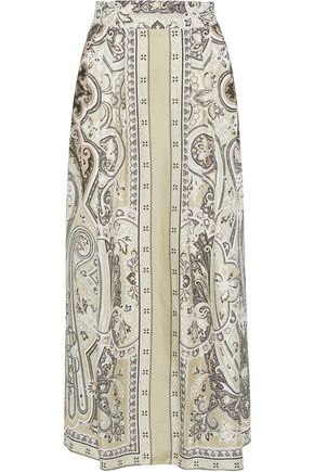 ETRO Pleated printed silk-twill midi skirt