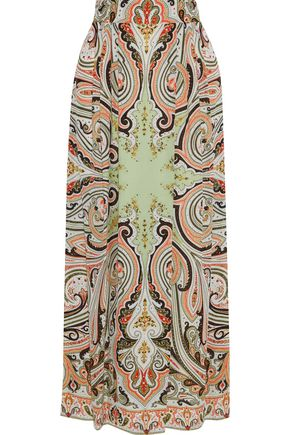 ETRO Pleated printed silk crepe de chine maxi skirt