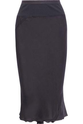 RICK OWENS Asymmetric pleated silk-chiffon skirt