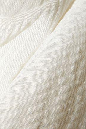 RICK OWENS One-shoulder draped paper-blend cloqué tunic