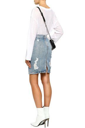 IRO Distressed denim pencil skirt