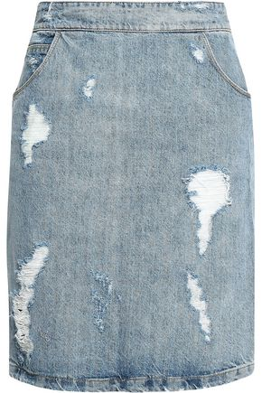 IRO Distressed denim pencil skirt