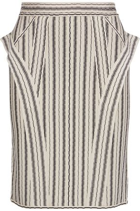 HERVÉ LÉGER Ruffle-trimmed striped jacquard-knit skirt