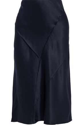 VINCE. Silk-satin midi skirt