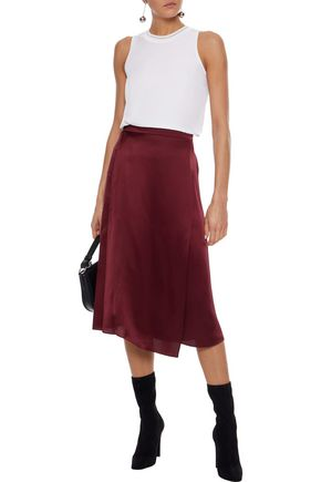 united states special discount of finest fabrics Wrap-effect silk-satin midi skirt   VINCE.   Sale up to 70 ...