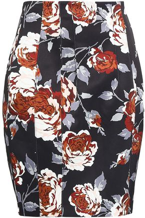 THEORY Floral-print satin pencil skirt