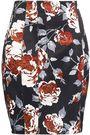 THEORY Floral-print satin pencil skirt