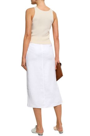 THEORY Linen and cotton-blend midi skirt