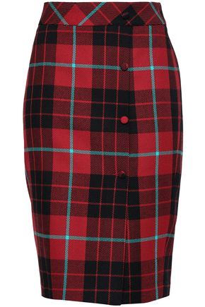 EACH X OTHER Button-detailed checked wool pencil skirt