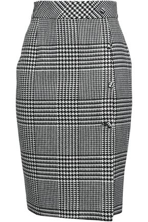 EACH X OTHER Button-detailed Prince of Wales checked jacquard pencil skirt