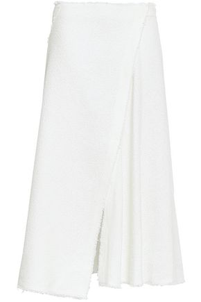 THEORY Wrap-effect frayed cotton-blend bouclé midi skirt