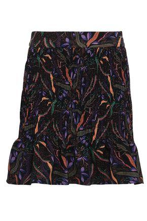 SALONI Printed stretch-crepe mini skirt