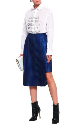 EACH X OTHER Pleated crepe de chine mini skirt