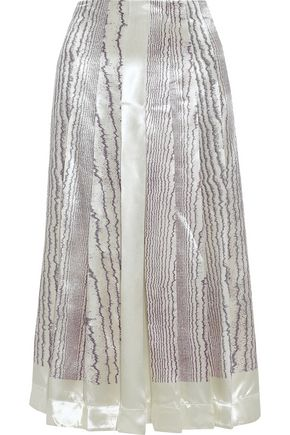 VICTORIA BECKHAM Pleated printed satin-crepe midi skirt