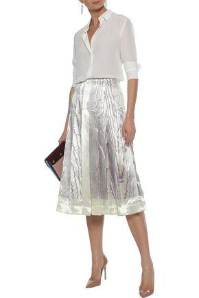 VICTORIA BECKHAM Pleated printed satin-crepe midi skirt