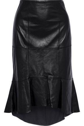 ALICE + OLIVIA Kina ruffled leather skirt