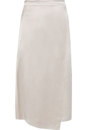 VINCE. Wrap-effect silk-satin midi skirt
