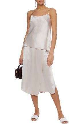 75a3afbbe VINCE. Wrap-effect silk-satin midi skirt