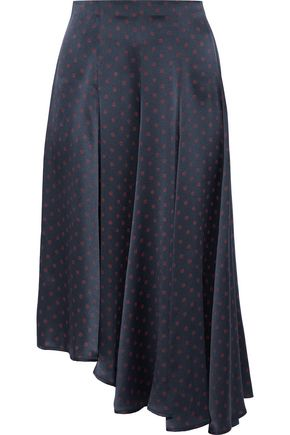 VINCE. Asymmetric polka-dot silk-satin midi skirt