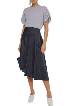 VINCE. Asymmetric polka-dot silk-satin midi skirt