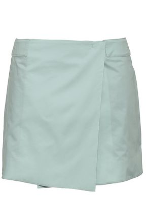 JOSEPH Zip-detailed cotton-poplin mini wrap skirt