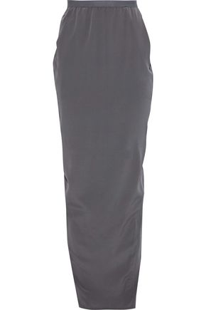 RICK OWENS Pillar split-back silk crepe de chine maxi skirt