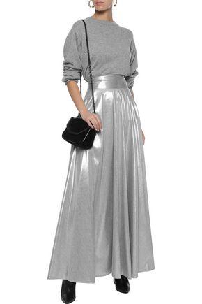 DIANE VON FURSTENBERG Pleated lamé maxi skirt