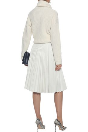 VICTORIA BECKHAM Pleated color-block leather skirt