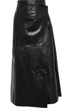 VICTORIA BECKHAM Leather midi wrap skirt