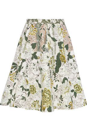 ETRO Flared foral-print cotton, silk and linen-blend skirt