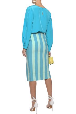 DIANE VON FURSTENBERG Striped knitted pencil skirt