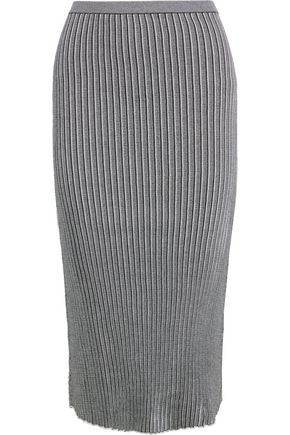 VICTORIA BECKHAM Marled ribbed-knit pencil skirt